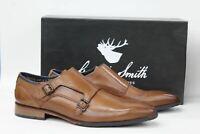 GOODWIN SMITH Men's Kensington Tan Brown Leather Monk Strap Shoes UK10 EU44 NEW