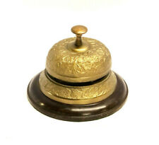Reception Bell ~ Desk Bell ~ Last Order Bell With Wooden Base Bronze Finish