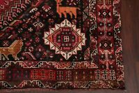 ANTIQUE Tribal Abadeh Oriental Hand-Knotted ANIMAL PICTORIAL RED Wool Rug 7x10