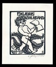 Conrad Felixmüller: Exlibris Köhlbrand (1959). Original-Holzschnitt, signiert