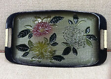 Vintage Davar N.Y. Japanese Lacquer Ware Painted Tray Mums/Flowers Green c. 1965
