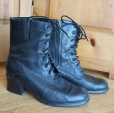 Henri Pierre Black Leather Combat Style Boots 8.5W 8 1/2W Made in Canada
