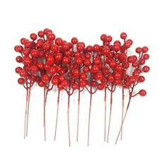 Red Berries, 12 Pc Artificial Red Berry Stems for Christmas Tree Decorations,