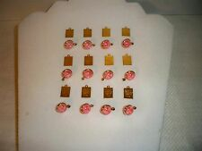 VTG (12) Pink Lucite Round Mustard Seed Charms Pendants + Bible Verse Charms G