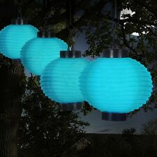 Patio Solar Lights Outdoor Blue Chinese Lanterns Garden Deck LED Hanging String
