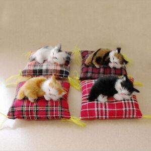 Simulation Sleeping Cat Plush Toy Press Sound Cute Stuffed Animal Kids Doll