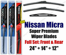 Top-of-the-line Wipers 3pk Front & Rear fit 2015-2016 Nissan Micra 16240/140/12B