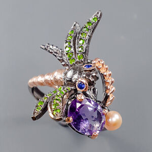 Jewelry One of a kind Amethyst Ring Silver 925 Sterling  Size 8 /R162913