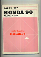 Honda 90 C200 (1963-1966) Factory Parts List Catalogue Book Manual CA 200 BS86