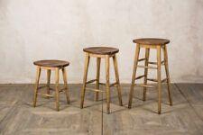 More details for vintage style oak lab stools bar stools breakfast bar stools school stools