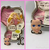 Vtg RARE 1986 Wilton Barbie Cake Baking Pan Tin Mold with FACE PLATE - 2105-2250
