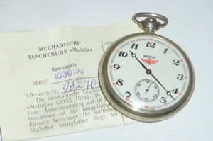 Russian Molnija Pocket Watch Mechanical Eisenbahneruhr Locomotive Railway