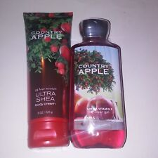 Set of 2 Bath and Body Works Country Apple Shower Gel Body Cream Full Size