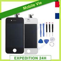 ECRAN VITRE TACTILE + LCD RETINA SUR CHASSIS POUR IPHONE 4/4S NOIR/BLANC+OUTILS