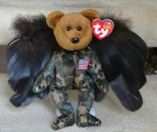 Americana Marine Ty Hero Bear Beanie w/ Wings & Doll Stand Fourth of July