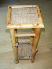 Vintage Chinese BAMBOO WICKER CANE 2 TIER PLANT STAND 20