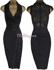 KAREN MILLEN ✩ CLASSIC BLACK TUXEDO LACE BACK HALTER PENCIL DRESS ✩ UK 10