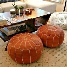 Set of 2 Leather poufs, ottoman luxury floor poufs, moroccan home decor,moroccan