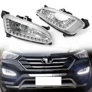 2pcs LED DRL Daytime Running Light Fog Lamp For Hyundai / IX45 Santa Fe 13-15 GZ