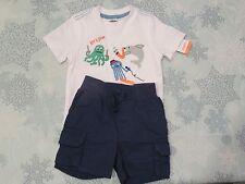NWT-GYMBOREE Baby Boys White Short Sleeve Shirt & Blue Shorts Sz 6-12 mos