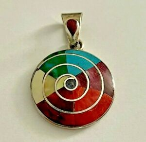 Peruvian Pachamama Pendant Sterling Silver 950 Spiral Crystacola Turquoise Coral