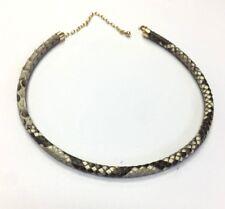 14K Yellow Gold Genuine Black Grey Snake Skin Leather Choker Necklace