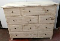 Dresser Chest of Drawers 7 Teak White Pickled Finish CMS 126x54x100h 8