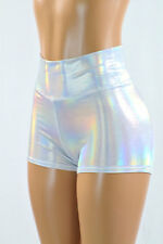 SMALL Flashbulb Holographic High Waist Rave Festival Party Shorts Ready To Ship!