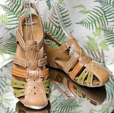 EARTH ORIGINS TAN LEATHER SLIDES SLINGBACK STRAPPY SANDALS SHOES WOMENS SZ 8.5 M