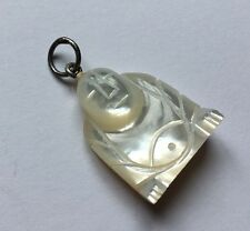 Sterling Silver 925 Mother Of Pearl Carved Sitting Buddha Pendant Charm D