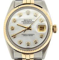 Mens Rolex 14k Gold/Stainless Steel Datejust Jubilee w/White MOP Diamond Dial