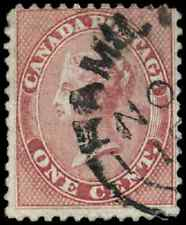 Canada #14 used F 1859 First Cents 1c rose Queen Victoria Hamilton CDS CV$40.00