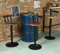 Vintage Industrial Bar Stool Leather Steel Loft Home Kitchen Cafe Swivel Chair