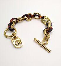MICHAEL KORS Gold Tortoise Logo Lock Link Bracelet