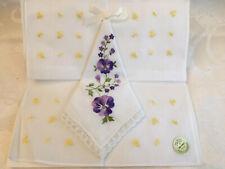 Vintage Ladies Hanky, Handkerchief, Embroidered Flowers Set Of 2 NEW