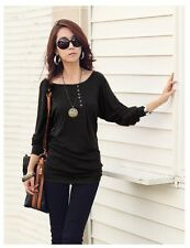 FineJo XL Black  Batwing Long Sleeve Thick Knit Top Soft Button Pleated Sweater