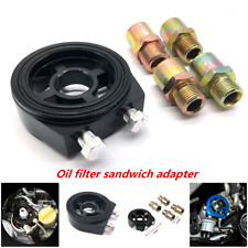 Aluminum Oil Filter Temp Pressure Cooler Gauge Sandwich Plate Adapter Sensor Kit