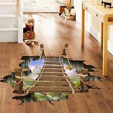 3D Floor Stickers for kids rooms Bridge Floor Wall Sticker Removable Mural De...