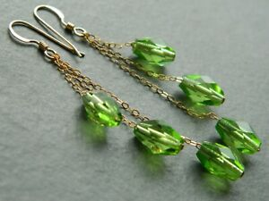 Vintage Faceted Peridot Green Glass Beads & 14ct Rolled Gold Chain Drop Earrings