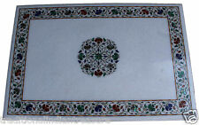 3'x3' White Large Marble Malachite Inlay Cyber Monday Dining Coffee Table Decor