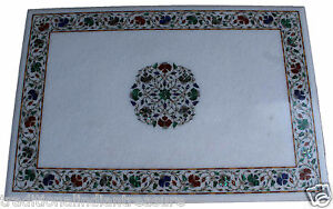3'x3' White Large Marble Malachite Inlay Marquetry Dining Table Special Decor