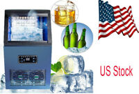 110Lbs 50Kg Auto Commercial Ice Cube Maker Machine Stainless Steel Bar 230W