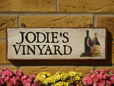 PERSONALISED GARDEN BAR SIGN WHITE WINE RED WINE VINYARD GRAPES YOU CHOOSE NAMES