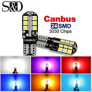 T10 501 194 W5W 3030 24-SMD LED Car CANBUS Error Free Wedge Light 168 2825 Bulb