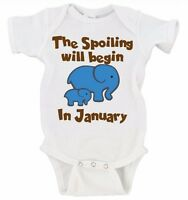The Spoiling Will Begin In Custom Date Option Elephant Baby Announcement Onesie