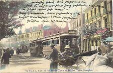 Shanghai, France / English Town mit Strassenbahn, versandt nach Kiel, 1912