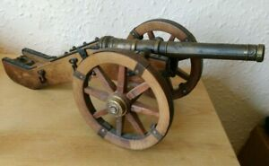 Vintage Brass Wood Military cannon Model Ornament Mancave Rare OOP collectible