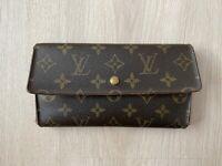 Louis Vuitton Trifold Monogram Leather Vintage Brown 1 Flap Long Wallet Purse