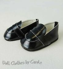 """Black Dress Loafers fit 18"""" American Girl Doll - Boy Shoes"""