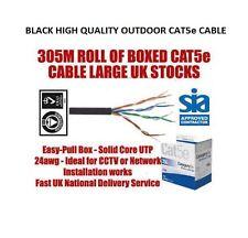 Brand NEW ROTOLO DI 305m Nero Outdoor CAT5E Cavo di rete * SPEDIZIONE GRATUITA * 1000 Ft